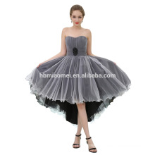 Factory Custom Made Off-Shoulder Short Front Long Back White Chiffon Black Evening Dress