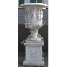 Urne de marbre pour jardin en pierre (QFP190)