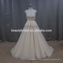 Vintage Noble flare sash embroidery white and gold wedding dresses