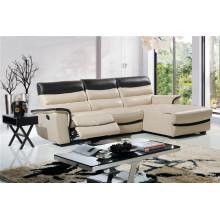 L forma de color mezclado con sofá reclinable de cuero