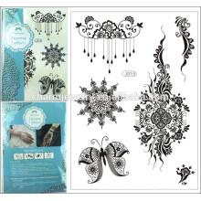2015 Nueva decoración del cuerpo de la etiqueta engomada del cuerpo de la mezcla 8 del tatuaje temporal del cordón del negro 1PC impermeable j015