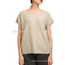 Tecido de malha 100% T de cashmere T-shirt de mulher