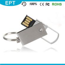 Prata metal giratório USB flash pen drive para computador (em018)