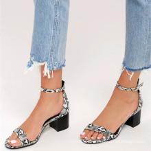 slender toe strap peep-toe upper medium heel sandal Snake Ankle Strap Heels sandals