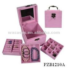 caixa de joias de veludo de venda quente com opções de cores diferentes