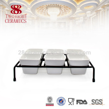 Leite branco grande cerâmica buffet prato, placa promocional para venda quente