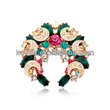2016 christmas tree shaped brooch fashion gold jewelry multicolor gemstone brooches