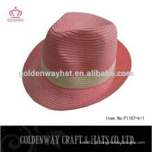 Chapéu Fedora de papel rosa para mulheres