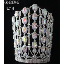Women Color Diamond Bridal Crown Tall Tiara