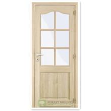 La última puerta de madera compuesta con un panel y seis luces