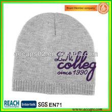 Sombrero de punto blanco grisáceo con bordado de alta calidad BN-2641
