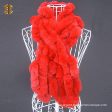 Girls Genuine Knitted Rex Rabbit Fur Scarf Womens Plain Color Scarves