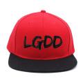 custom 2018 regular bordado logotipo plástico gabinete de volta stiching vermelho snapback cap / chapéus atacado