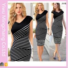 2016 Europa e América Preto e Branco Striped Plus Size Slimming Pencil Dress