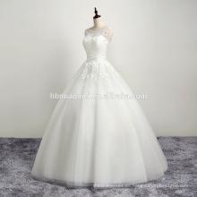 2016 vestido de boda blanco sin mangas del cordón del ganchillo elegante para nupcial