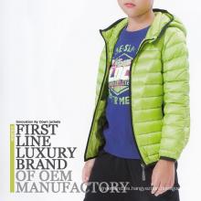 Chaqueta de invierno de peso ligero verde Niños 2016 Goose Down Clothes Manufactory