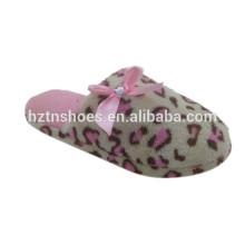 Pink leopard bowtie decoration indoor slipper winter indoor slipper for women