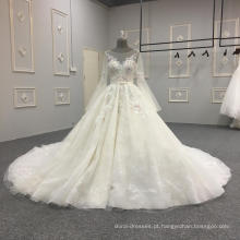 2018 mais recente projeto mangas compridas vestido de noiva vestido de noiva DY039
