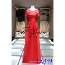 1A849 Mãe da Noiva Sheer Back Red Satin Beading Evening Dress