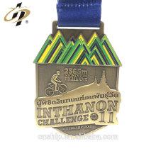 Medallas de premio de encargo de fundición de oro antiguo 3D con cordón
