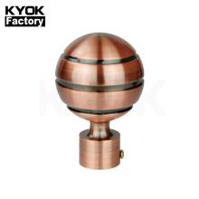 KYOK Algeria market best sale 28mm new design curtain finial ball ,glass finial curtain rod