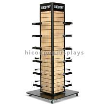 Slatwall Panel de madera Soporte de acrílico 4-Way Rack Lazy Susan Display de madera comercial rack de zapato