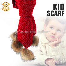 Latest Design Lady Animals Pom Pom Scarf Wholesale Custom Wool Knit Crochet Baby Scarf