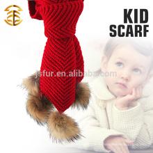 Последний дизайн Леди животных Pom Pom шарф Оптовая пользовательских шерсти вязать вязание крючком Baby шарф
