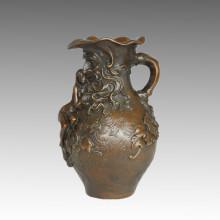 Vase Statue Langhaar Dame Bronze Skulptur, Marcel TPE-560