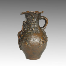 Vaso Estátua Longo-cabelo Senhora Bronze Escultura, Marcel TPE-560