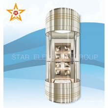 Shopping mall panoramic elevator with sightseeing glass