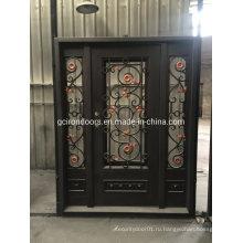 Стальные двери классического дизайна с боковой подсветкой