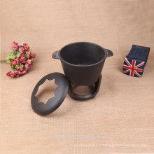 Mini pot de fondue d'alcool en fonte extérieure