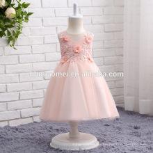 2017 neue Ankunft rosa, weiß und Creme Farbe Blumenmädchen Kleid kurze Design bunt geschnürt geschwollene Baby Mädchen Hochzeitskleid