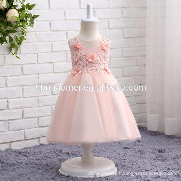 2017 nouvelle arrivée rose, blanc et crème couleur fille fleur robe courte conception coloré lacé bouffi bébé fille robe de mariée