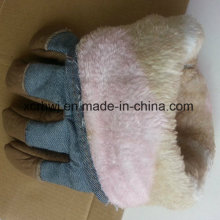 Winter Work Glove, Leather Winter Working Glove, Cow Grain Leather Fleecy Lined Winter Warm Working Glove