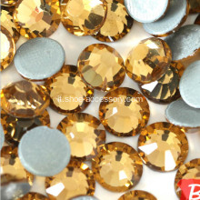 Strass Topaz Hot-Fix Flat Back, rotondo 3,8-4,0mm