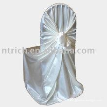 Tecido de cetim saco capa de cadeira, capa de cadeira hotel/banquete, tampa da cadeira auto atar
