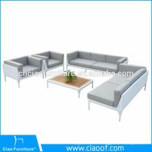 Les derniers meubles en aluminium de sofa de cadre de PE ont placé le PE