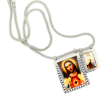 "Christ Style Jesus Image Charm Pendant 18"" Silver Polo Chain Stainless Steel Cross Prayer Rosary Link Chain Necklace"