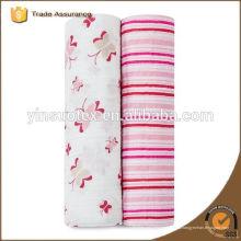 100 algodón orgánico bebé manta rosa raya precio bajo para el bebé recién nacido