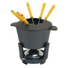 Juego de fondue de hierro fundido de 9 piezas 1.47QT, negro