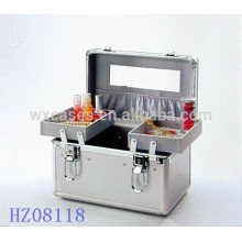 fashionale aluminum beauty case with 2 trays on the case bottom and a morror and a pocket on the case lid