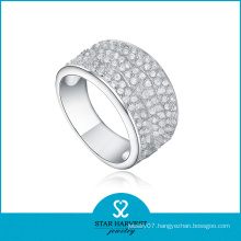 2016 Elegant Sterling Silver Micro Pave Wedding Ring (R-0160)