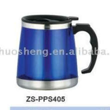 Direct manufacture 500ML double wall inner stainless steel outer plastic office travel mug beer mug made in China