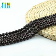 L-0058 Charm Garnet Natural Gemstone Perlas redondas lisas sueltas a granel