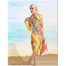 Gasa de seda oblonga UV proteger toalla de playa