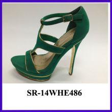 Hot selling sexy ladies platform high heel sandal roman straps green upper girls high heel sandals factory