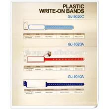 Einweg-rosa Identifikationsband des Krankenhauses Plastik schreiben auf Bänder ID-Bänder