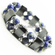 Magnetic Hematite Space Bracelet with alloy and 8MM Sodalite Round Beads
